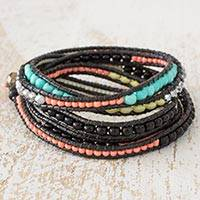 Beaded wrap bracelet, 'Macaw Plumes' - Multicolor Wrap Bracelet from Artisan Crafted Beaded Jewelry