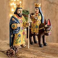 Pinewood sculptures, 'The Road to Egypt' (2 pieces) - 2 Hand Carved Wood Sculptures of the Holy Family