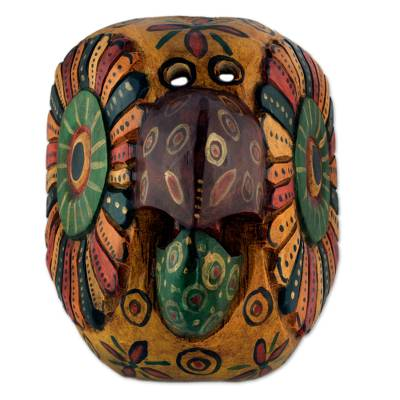 Wood mask, 'Yellow Parrot' - Vintage Style Yellow Parrot Mask Carved by Hand