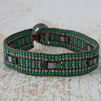 Beaded wristband bracelet, 'Emerald Palms' - Artisan Crafted Bracelet Aqua and Grey Beaded Wristband