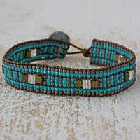 Beaded wristband bracelet, 'Guatemalan Streams' - Artisan Crafted Bracelet Aqua and Grey Beaded Wristband