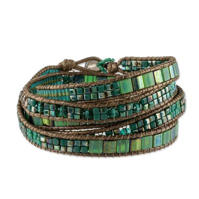 Handmade Turquoise Color Iridescent Gold Wrap Bracelet