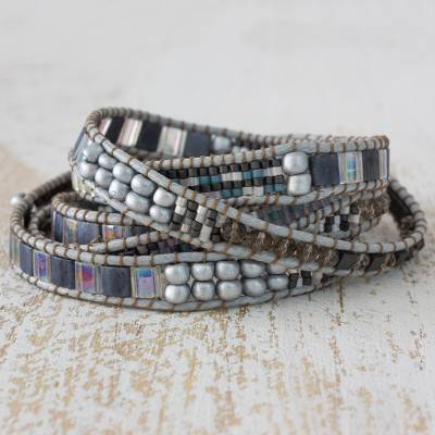 Beaded wrap bracelet, 'Nocturnal Sierra' - Hand Made Grey Silver Iridescent Pink Beaded Wrap Bracelet