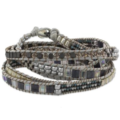 Beaded wrap bracelet, 'Nocturnal Sierra' - Hand Made Grey Silver Iridescent Pink Beaded Wrap Bracelet