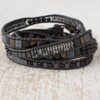 Beaded wrap bracelet, 'Mythical Sierra' - Hand Made Grey Black and Iridescent Beaded Wrap Bracelet