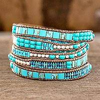 Beaded wrap bracelet, 'Soothing Teal'