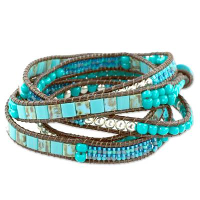 Beaded wrap bracelet, 'Soothing Teal' - Soothing Teal Wrap Bracelet Crafted by Artisan Group