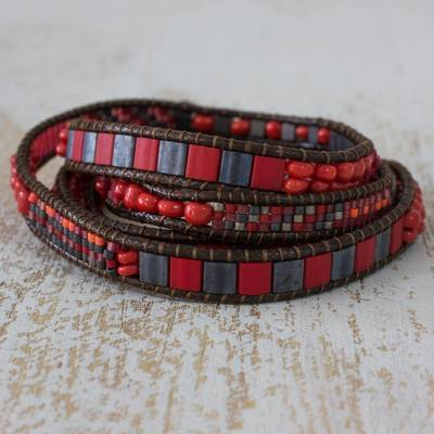 Beaded wrap bracelet, 'Red Rose Fire' - Bright Red and Orange Wrap Bracelet Handmade Beaded Jewelry