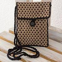 Cotton sling bag, 'Dotted Brown' - Petite Sling Bag Purse in Handwoven Brown Cotton