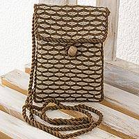 Cotton sling bag, 'Travels' - Hand Woven 100% Cotton Brown and Beige Sling Bag