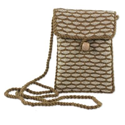 Hand Woven 100% Cotton Brown and Beige Sling Bag