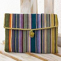 Cotton jewelry case, 'Rainbow' - Hand Woven 100% Cotton Colorful Jewelry Case from Guatemala