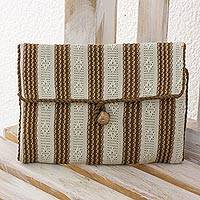 Cotton jewelry case, 'Ivory Elegance' - 100% Cotton Hand Woven Ivory and Beige Jewelry Case