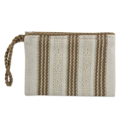 Hand Woven Ivory and Brown 100% Cotton Wristlet Bag