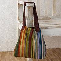 Cotton tote, 'Earth and Sky' - 100% Cotton Hand Crafted colourful Striped Tote Handbag