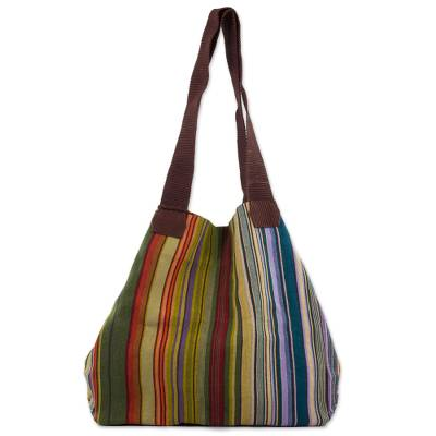 Cotton tote, 'Earth and Sky' - 100% Cotton Hand Crafted Colorful Striped Tote Handbag