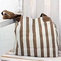 Cotton tote, 'Ivory Grace' - 100% Cotton Handmade Ivory and Brown Striped Tote