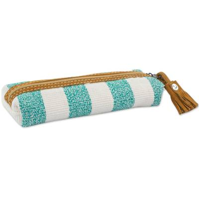 Leather accent cotton cosmetic bag, 'Aqua Sea' - Leather Accent Handwoven Striped Cotton Cosmetic Bag