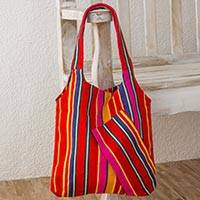 Cotton shoulder bag, 'Tropical Pomegranate' - Handwoven Bright Striped Cotton Shoulder Bag from Guatemala