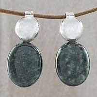 Jade drop earrings 'Dark Maya Coronation' - Contemporary Dark Green Jade and Silver Drop Earrings