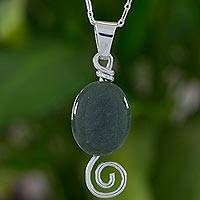 Jade pendant necklace, 'Green Maya Galaxy' - Spiral Theme Sterling Silver and Green Jade Necklace