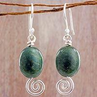 Jade dangle earrings, 'Green Maya Galaxy' - Spiral Theme Sterling Silver and Green Jade Earrings