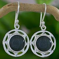 Jade dangle earrings, 'Kinich Ahau' - Sun Theme Silver Earrings with Green Maya Jade