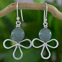 Jade dangle earrings, 'Pale Green Angel' - Abstract Angel Earrings in Silver with Light Green Jade
