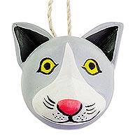 Wood wall mask, 'Little Grey Kitty Cat' - Artisan Carved and Painted Wood Cat Mask from Guatemala