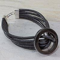 Jade and leather cord bracelet, 'Midnight Jade' - Hand Crafted Black Leather Cord Bracelet with Dark Jade