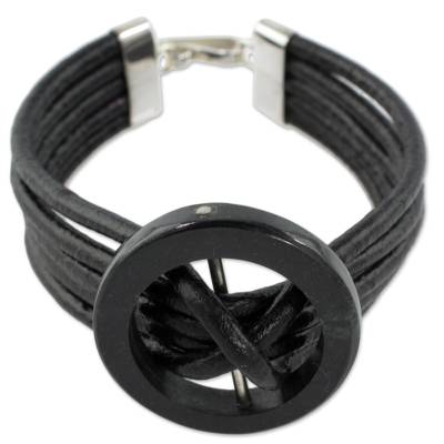 Jade and leather cord bracelet, 'Midnight Jade' - Hand Crafted Black Leather Cord Bracelet with Dark Jade