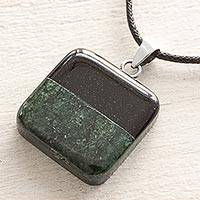 Jade pendant necklace, 'Horizontal Duality' - Black and Green Jade Pendant on Black Cotton Necklace