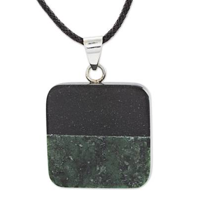 Jade pendant necklace, 'Horizontal Duality' - Black and Green Jade Pendant on Black Cotton Necklace