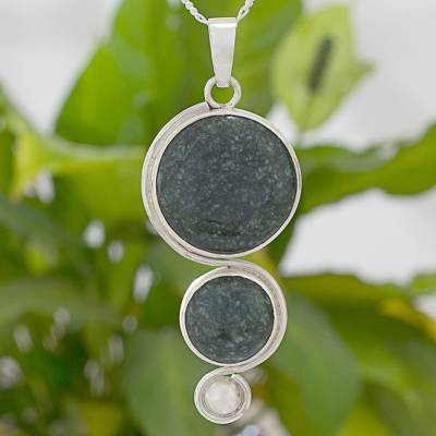 Jade and sterling silver pendant necklace, 'Harvest Circles' - Artisan Crafted Jade and Sterling Silver Pendant necklace