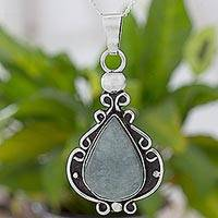 Jade and sterling silver pendant necklace, 'Light Shadows of Jade' - Artisan Crafted Jade and Sterling Silver Pendant Necklace