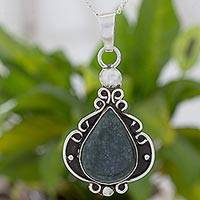 Jade and sterling silver pendant necklace, 'Dark Shadows of Jade' - Handmade Jade and Sterling Silver Pendant Necklace