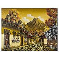 'Calle San Francisco III' - Guatemalan Volcano Village Signed Painting Limited Edition