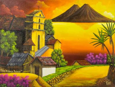 'San Antonio Palopo III' - Sunset Over Lake Atitlan Signed Painting Limited Edition