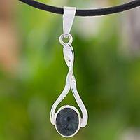 Jade and sterling silver pendant necklace, 'Jade Memories' - Artisan Crafted Jade and Sterling Silver Pendant Necklace