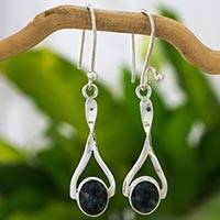 Jade dangle earrings, 'Eternal Beauty' - Natural Jade on Artisan Crafted Sterling Silver Earrings