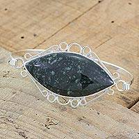 Jade and sterling silver bracelet, 'Jade Elegance' - Artisan Crafted Jade and Sterling Silver Pendant Bracelet