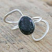 Jade cocktail ring, 'Forest Green Lemniscate' - Stylized Infinity Symbol 925 Silver Ring with Dark Jade