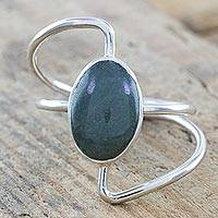 Jade cocktail ring, 'Mint Green Lemniscate' - Mint Green Jade on Stylized Infinity Symbol 925 Silver Ring