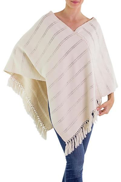 Natural cotton poncho, 'Ivory Ixchel Blessings' - Guatemalan Backstrap Handwoven Natural Ivory Cotton Poncho