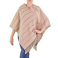 Natural cotton poncho, 'Tan Ixchel Blessings' - Handwoven Backstrap Loom Natural Tan Cotton Poncho