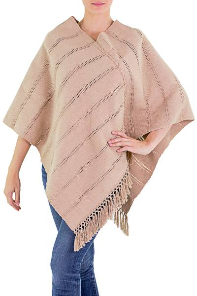 Natural cotton poncho, 'Tan Ixchel Blessings' - Handwoven Backstrap Loom Natural Tan Cotton Poncho