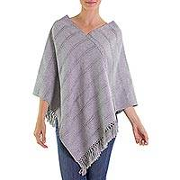 Cotton poncho, 'Light Blue Ixchel Blessings' - Maya Handwoven Poncho in Cotton and Recycled Denim