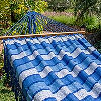 Cotton hammock, 'Monterrico Surf' (single) - Artisan Handwoven Striped Blue Cotton Hammock (Single)
