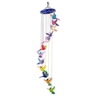 Ceramic mobile, 'Twelve Hummingbirds' - Brightly Colored Ceramic Mobile with Hummingbirds