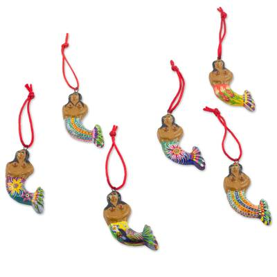 Ceramic ornaments, 'Mermaid Goddesses' (set of 6) - Set of 6 Ceramic Mermaid Ornaments Hand Crafted in Guatemala